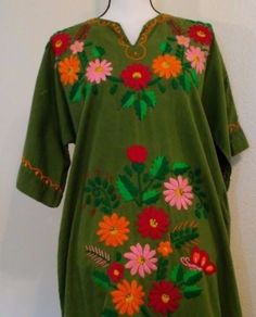 Hippy-Dress-Handmade-Vintage-Green-Floor-Length-One-Size-Embroidered-Flowers