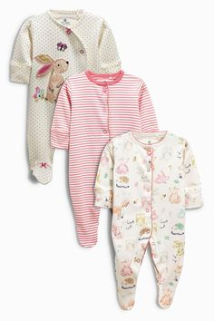 Buy Three Pack Spot Bunny Sleepsuit (0mths-2yrs) from the Next UK online shop
