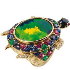 Tortoise ring in yellow gold with diamonds, rubies, sapphires, onyx and Australian black opal by Lydia Courteille, {Haute Tramp} Peacock Jewelry, Bird Jewelry, Animal Jewelry, Opal Jewelry, Jewelry Art, Fashion Jewelry, Jewelry Design, Lydia Courteille Jewelry, Tortoise Ring
