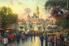 Thomas Kinkade Disneyland Anniversary painting for sale, this painting is available as handmade reproduction. Shop for Thomas Kinkade Disneyland Anniversary painting and frame at a discount of off. Thomas Kinkade Disney, Thomas Kinkade Art, Art Disney, Film Disney, Disney Love, Disney Pixar, Disney Canvas, Disney Magic, Magical Paintings