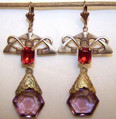 VINTAGE CZECH DANGLE EARRINGS filigrees  & LIGHT AMETHYST glass drops  #DropDangle