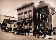 Original SF Anchor brewery on Pacific (between Larkin and Hyde) during the Gold Rush. 1854.