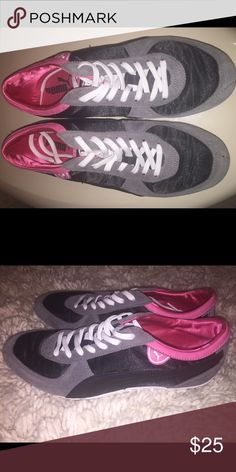Puma sneakers, size 6 1/2 Grey, black and pink Puma sneakers, size 6 1/2, worn only once or twice Puma Shoes Athletic Shoes