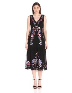 Nanette Lepore Women's Summer Soiree Sheath  Embroidery Back zip Made in India