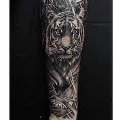 Try a Tyger Tyger, burning bright. | 49 Bloody Brilliant Black And Grey Tattoo Ideas