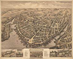 New London, Connecticut CT 1876 Reproduction Vintage Bird's eye view map print. New London Connecticut, Connecticut History, Vintage Birds, Vintage Wall Art, Birds Eye View Map, New Britain, History Online, Local History, Old Wall