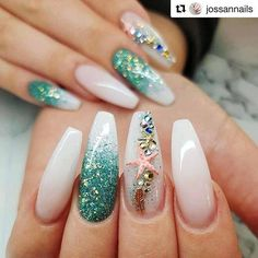 You can enjoy its beauty though without fear by using a starfish nail art design. You can buy starfish nail art decorations or you can have the starfish painted on your nails. Fabulous Nails, Perfect Nails, Gorgeous Nails, Pretty Nails, Cruise Nails, Vacation Nails, Mermaid Nail Art, Little Mermaid Nails, Sea Nails