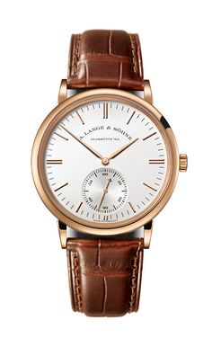 A. Lange & Söhne: Saxonia Automatic in rose gold with brown band.