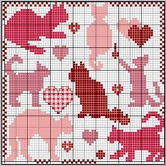 Valentine Cats Cross Stitch Pattern - use bits and pieces of this to make my own pattern Cross Stitch Freebies, Cross Stitch Charts, Cross Stitch Designs, Cross Stitch Patterns, Cat Cross Stitches, Cross Stitching, Cross Stitch Embroidery, Beading Patterns, Embroidery Patterns