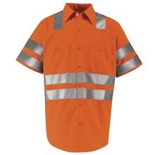 Red Kap Hi-Visibility Orange Short Sleeve Shirt - Class 3 Level 2 X Striping SS24OO | Hi Vis Safety Direct will beat any other price , we are #1 in Hi Visibility Items .