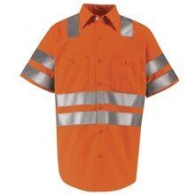 Red Kap Hi-Visibility Orange Short Sleeve Shirt - Class 3 Level 2 X Striping Orange Shorts, Shirt Sleeves, Safety, Polo Shirt, Red, Mens Tops, Shirts, Fashion, Security Guard