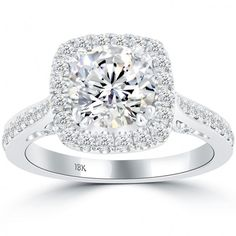 Jewelry & Watches Diamond 2.92 Carat Round Cut Halo Diamond Engagement Ring Vs2/f White Gold 18k