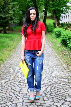 Discover this look wearing Red Peplum Zara Tops, Navy Boyfriend H&M Jeans, Lime Green Clutch Bershka Bags - Red, Neon and Blue by alecsa styled for Chic, Birthday in the Spring H&m Jeans, Blue Jeans, Aqua Heels, Green Clutches, Red Shirt, Zara Tops, Peplum, Style Inspiration, Fashion Outfits