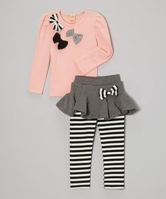 Take a look at this Pink Bow Top & Gray Stripe Skirted Leggings - Toddler & Girls by Mia Belle Baby on #zulily today!