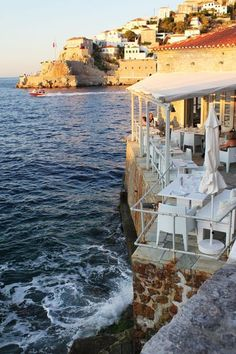 seaside cafe, hydra, greece