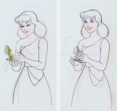 Cinderella development sketch ★ || Art of Walt Disney Animation Studios © - Website | (www.disneyanimation.com) • Please support the artists and studios featured here by buying their artworks in the official online stores (www.disneystore.com) • Find more artists at www.facebook.com/CharacterDesignReferences and www.pinterest.com/characterdesigh || ★