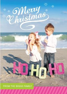 creative christmas card pictures and photo props----Change the HoHo ho to something else Beach Christmas Pictures, Christmas Photo Props, Xmas Pictures, Christmas Minis, Christmas Photos, Christmas Holidays, Christmas Ideas, Xmas Pics, Coastal Christmas