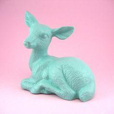 Cute teal deer figurine