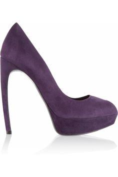 Alexander McQueen|Suede peep-toe pumps| 140mm Heel 25mm Plataform