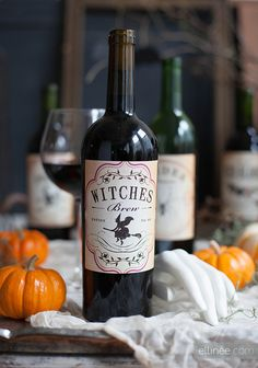 Adorable wine bottle label templates for Halloween parties.