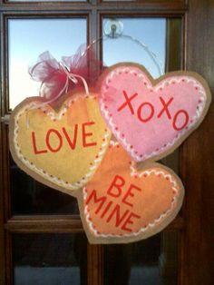 Conversation heart door hanger