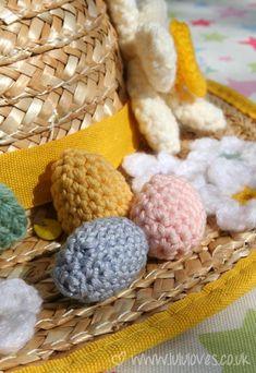 Crochet Mini Eggs Pattern..on an Easter Sun Bonnet...(kinda funny...eh?!) from Lulu Loves....