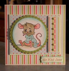 Get Well Soon Card, Sick Henry Mouse stamp by Whiff of Joy