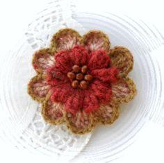 HAND CROCHET BROOCH APPLIQUE MULTICOLORED WOOL FLOWER   eBay