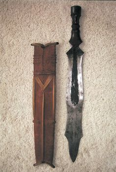 SALAMPASU SWORD - Democratic Republic of Congo; The Salampasu, who live south of the Lwalwa and the Mbagani and west of the Lulua River, once had a reputation as fierce warriors and headhunters.