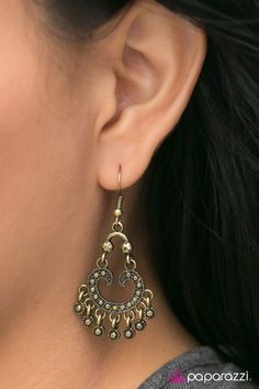 I Will Grant you Three Wishes - brass - Paparazzi earrings Paparazzi Jewelry Catalog, Paparazzi Accessories, Brass Jewelry, Jewellery, Antique Frames, Fish Hook, Studs, Drop Earrings, Beading