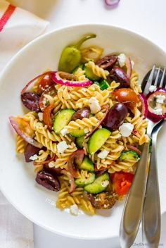 You guys, this Greek Pasta Salad is flavor bomb! With marinated sweet-sour red onions, crunchy cucumber and creamy feta, it will be your most-favorite pasta salad ever. Every cook and foodie should...