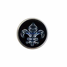 #713 Black Fleur-de-lis Snap 20mm for Snap Jewelry