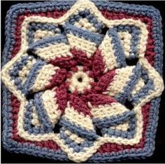 This gorgeous Pinwheel Star is definitely a must-do #crochet pattern! Use red, white, and blue yarn (as shown) to give this free crochet afghan square pattern a patriotic theme.