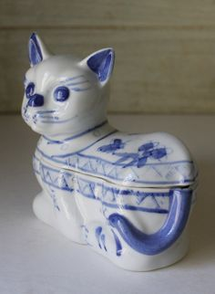 Hand Painted Blue and White Ceramic Cat Box  by MuzettasWaltz, $18.00