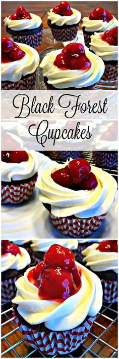 Our gorgeous Black Forest Cupcakes are moist, but low-fat chocolate cupcakes, with pretty swirls of the best buttercream frosting, and topped with juicy sweet cherries!