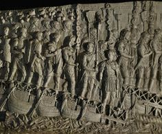 Legionaries crossing the Danube on a pontoon bridge near Turnu Severin. Relief cast from Trajan's column, Rome.