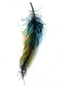 watercolor tattoo, maybe arrow instead of feather. I like the look of paint splashes on an ordinary black tattoo.