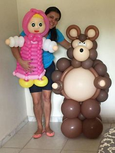 Bomba de masha y el oso Baby Boy Birthday, 3rd Birthday, Birthday Parties, Marsha And The Bear, Bear Party, Toy Story Party, Balloon Animals, Girl Decor, Balloon Arch