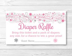 Pink Snowflake Diaper Raffle Tickets / Snowflake Baby Shower ...