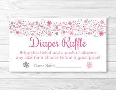 Pink Snowflake Diaper Raffle Tickets / Snowflake Baby Shower ...