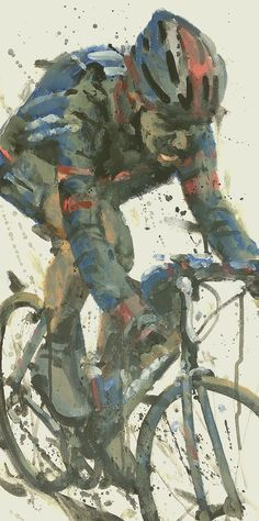 acrylic on canvas sold 2002 was Tom Boonen's first Paris Roubaix it was also the last in which it rained! Cycling Art, Road Cycling, Cycling Tattoo, Cycling Quotes, Cycling Jerseys, Cycling Bikes, Cycle Painting, Illustrations, Illustration Art