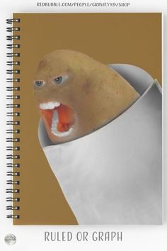 * The Bossy Screaming Potato Spiral Notebooks by #Gravityx9 | Redbubble ~ 120 pgs, Choice of ruled or graph pages. * This design is on hardcover notebooks, stickers, tee shirts, bags and more. * school supplies notebooks stationery * school needs * school supplies * school shopping * back to school notebooks * school notebook ideas * back to school essentials * stationery supplies * school bullet journaling * bullet journal * school journal * playing with food * #potato #foodface #notebook 0821 Notebook Ideas, Notebook Design, Back To School Supplies, Office Supplies, Back To School Essentials, School Notebooks, Bullet Journal School, Spiral Notebooks, School Shopping