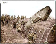 A Mark IV (Male) tank H45 'Hyacinth' of H Battalion ditched in a German trench while supporting the 1st Battalion, Leicestershire Regiment, one mile west of Ribecourt. Some men of the battalion are resting in the trench, 20 November 1917. World War One, First World, Ww1 Tanks, Flanders Field, Armored Fighting Vehicle, British Soldier, British Army, Commonwealth, Military History