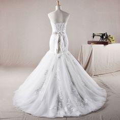 Strapless Trumpet / Mermaid Net over satinwedding dress,Style No.0bg01409,US$411.00
