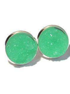 Druzy Studs- Mint Drusy studs, mint green, silver or gold- Bridesmaid jewelry 12mm DBKL106