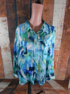 New listing on eBay! Chicos Womens 3 Abstract Blue Yellow Green Button Down Dress Top Blouse Shirt