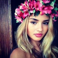 Flower crown + lipstick color                                                                                                                                                      More