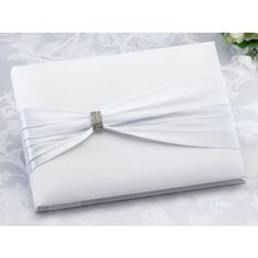 White Sash Guest Book - Guest Books & Pen Sets - Wedding Day :: WeddingFavors.com