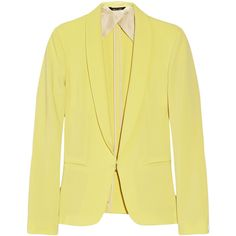 Rag & bone Crepe tuxedo jacket ($198) ❤ liked on Polyvore featuring outerwear, jackets, blazers, tops, pastel yellow, fitted jacket, tux jacket, tailored blazer, dinner jacket and yellow blazer