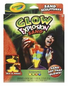 Crayola Glow Explosion Sand Art Sculptures by Crayola. $1.45. Pour layers of glowing sand into the bottle to create the brightest sand art ever!. Display your art in the dark!. Sand Art that Glows!. 3 unique bottle shapes. Four different colors of Glow Sand.. From the Manufacturer                Crayola Glow Explosion Sand Art Sculptures is the ultimate create in the dark art activity!                                    Product Description                The Crayola Glow Explosi...